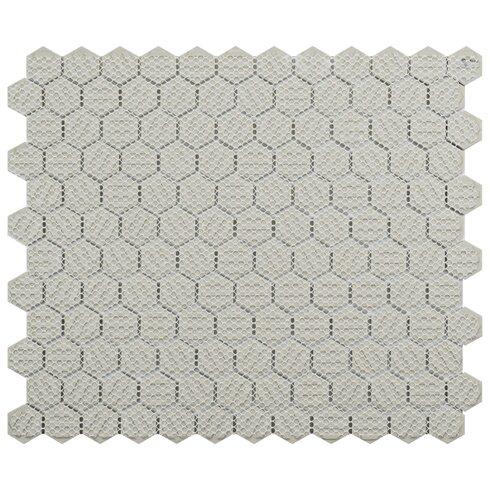 "Retro 0.875"" x 0.875"" Hex Porcelain Mosaic Tile in Matte White"