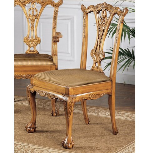 Design toscano english chippendale fabric side chair wayfair for English chair design