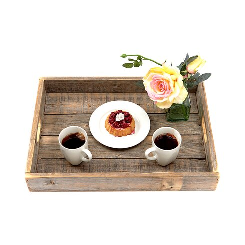 Reclaimed Wood Serving Tray with Cutout Handle - Loon Peak Reclaimed Wood Serving Tray With Cutout Handle & Reviews
