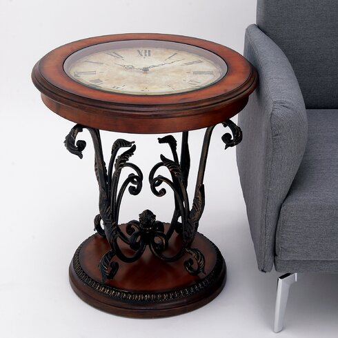 Ec world imports casa cortes round clock coffee and end for Clock coffee table round