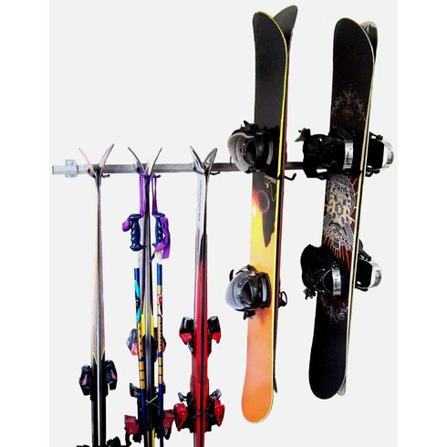 Monkey Bar 3 Ski And 4 Snowboard Wall Mounted Rack