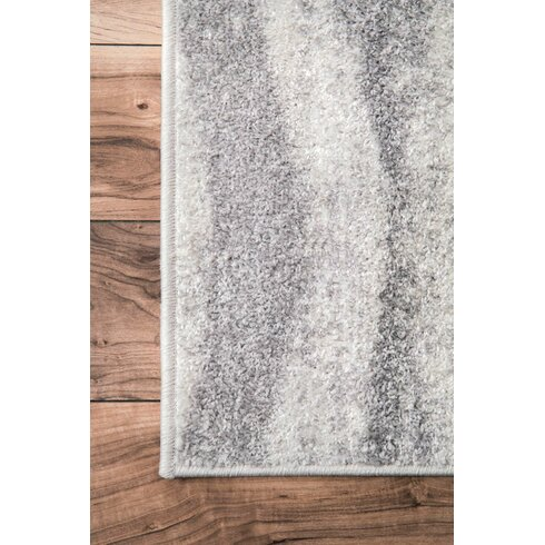 Mercury Row Lada Abstract Waves Gray White Area Rug