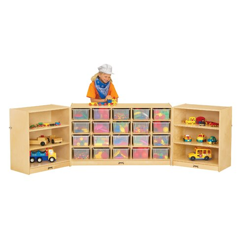 Triple Folding 26 Compartment Shelving Unit with Casters