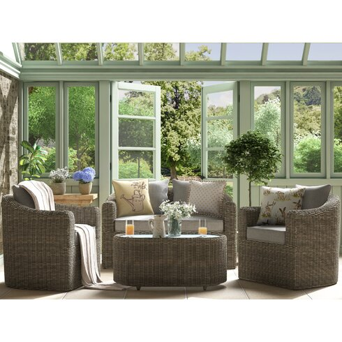 Rowlinson bunbury 4 seater sofa set with cushions for Outdoor furniture bunbury