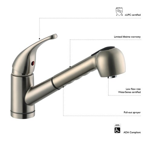 Bellevue Single Handle Kitchen Faucet with Soap Dispenser and Pullout Sprayer