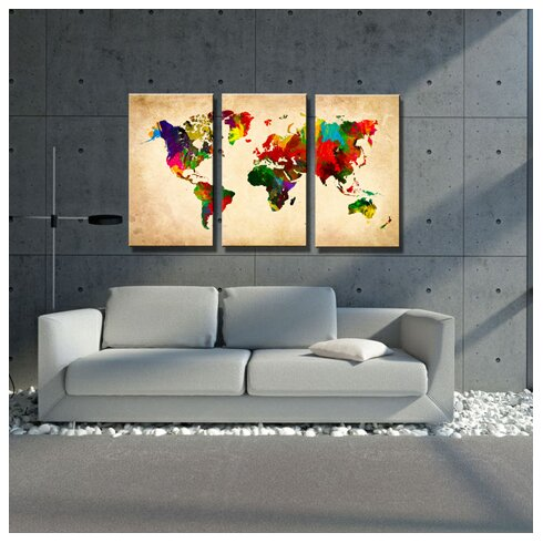 Britt 'World Map' Graphic Art Print Multi-Piece Image on Canvas