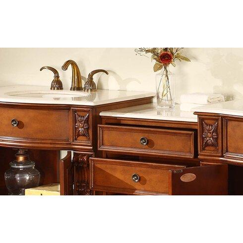 Silkroad Exclusive Savannah 84 Double Bathroom Vanity Set Reviews Wayfair