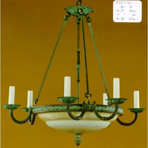 Marbleiced Glass 10 Light Candle Chandelier