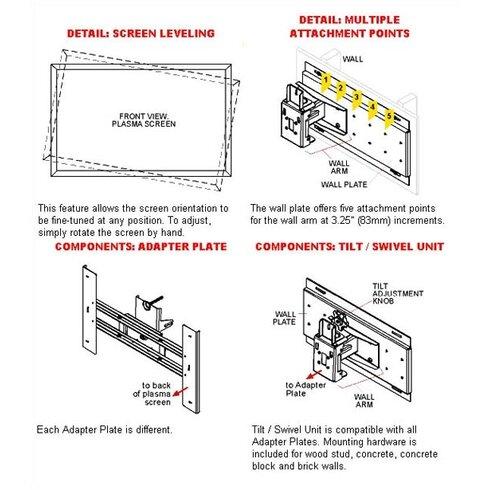 """Tilt/Swivel Wall Mount for 32"""" - 50"""" Plasma"""