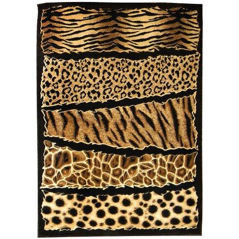 Skinz 71 Mixed Brown Animal Skin Prints Horizontal Patchwork Area Rug