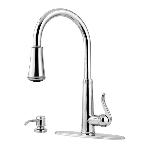 Ashfield Single Handles Deck Mounted Kitchen Faucet with Soap Dispenser