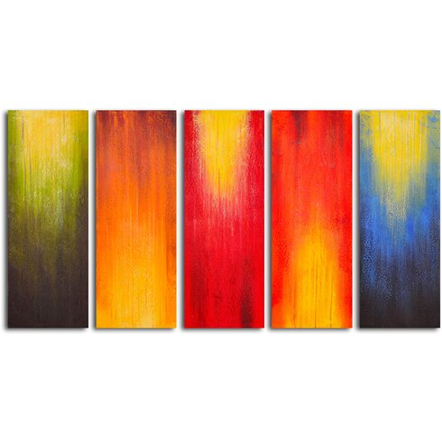 Paintbrush panels of color 5 piece painting on wrapped for Best brand of paint for kitchen cabinets with set of 4 canvas wall art