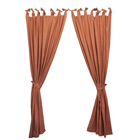 Red and Beige Ticking Tab Top Bed Curtain Panels