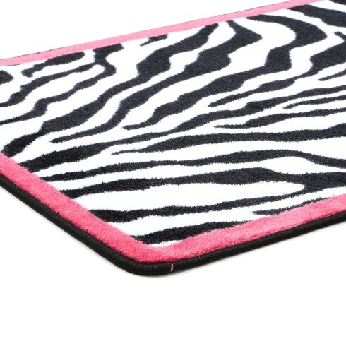 Milliken Zebra Glam Pink Passion Black White Area Rug