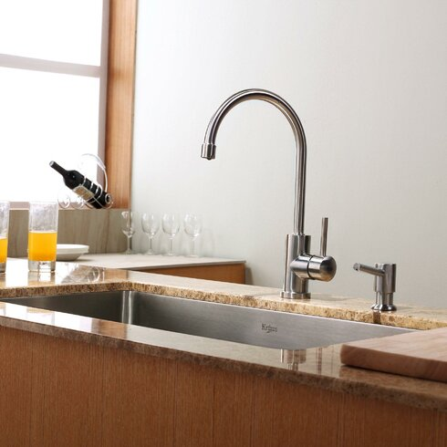 """30"""" x 18"""" Undermount Kitchen Sink with Faucet and Soap Dispenser"""