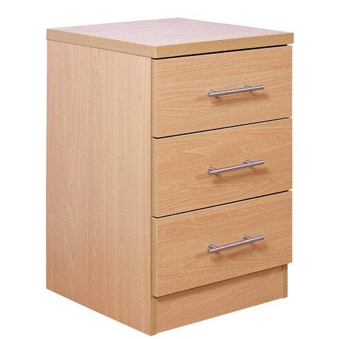 Kingston 3 Drawer Bedside Table