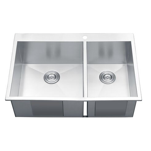 tirana 33 x 22 drop in double bowl kitchen sink - Bowl Kitchen Sink