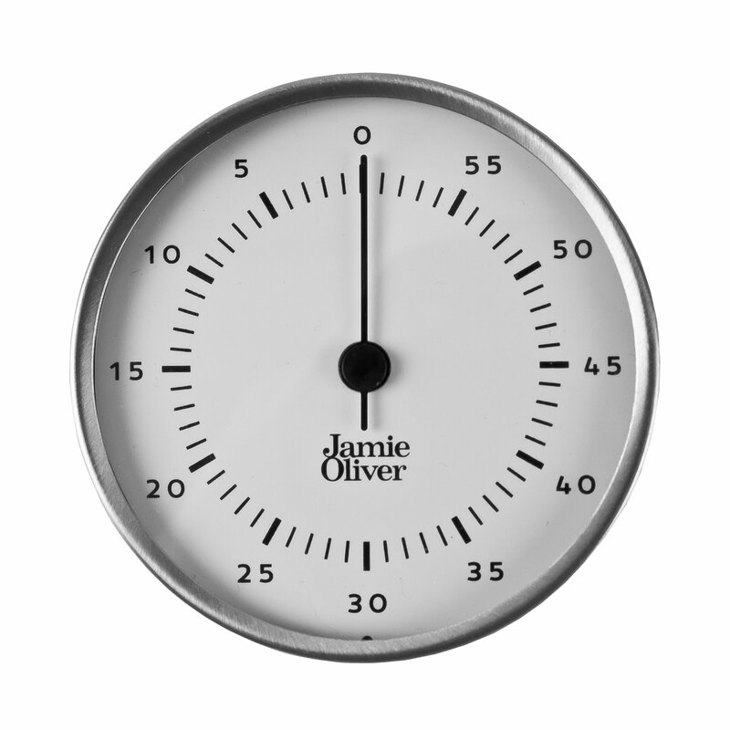 Jamie Oliver Stainless Steel Magnetic Kitchen Timer with Manual Wind