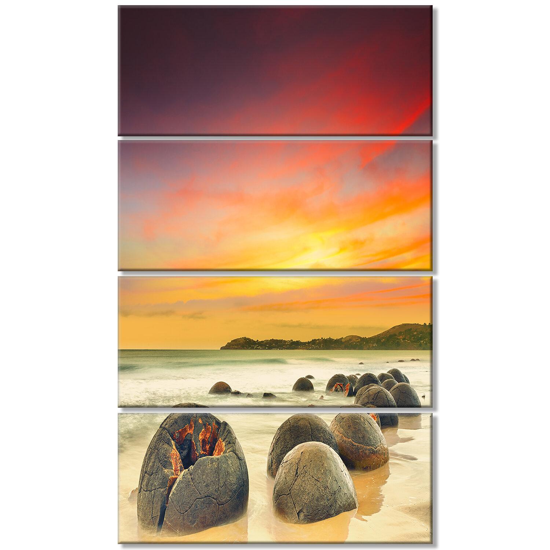 DesignArt \'Fantastic Moeraki Boulders View at Sunset\' 4 Piece Wall ...