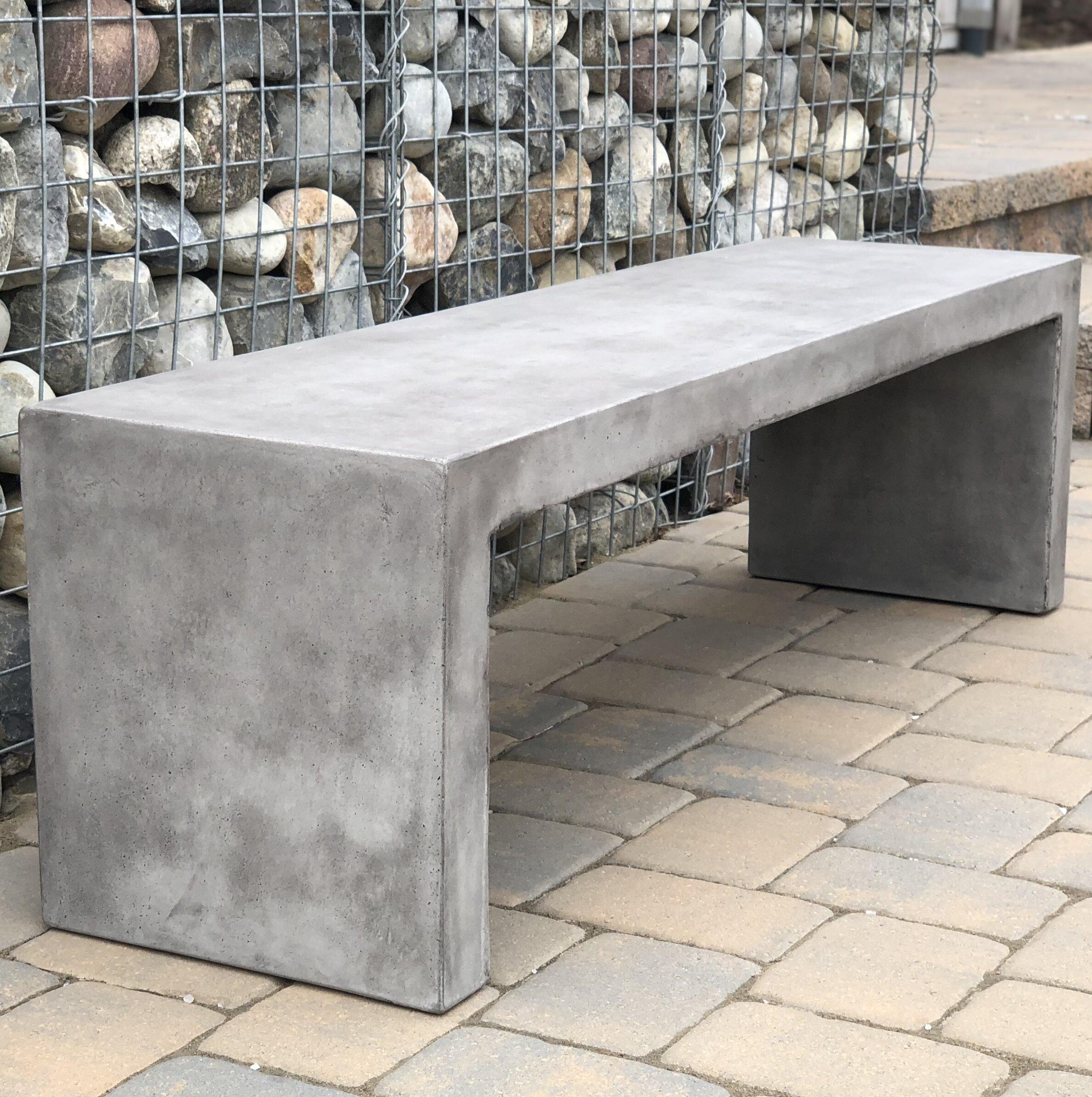 Foundry select colegrove backless concrete garden bench wayfair