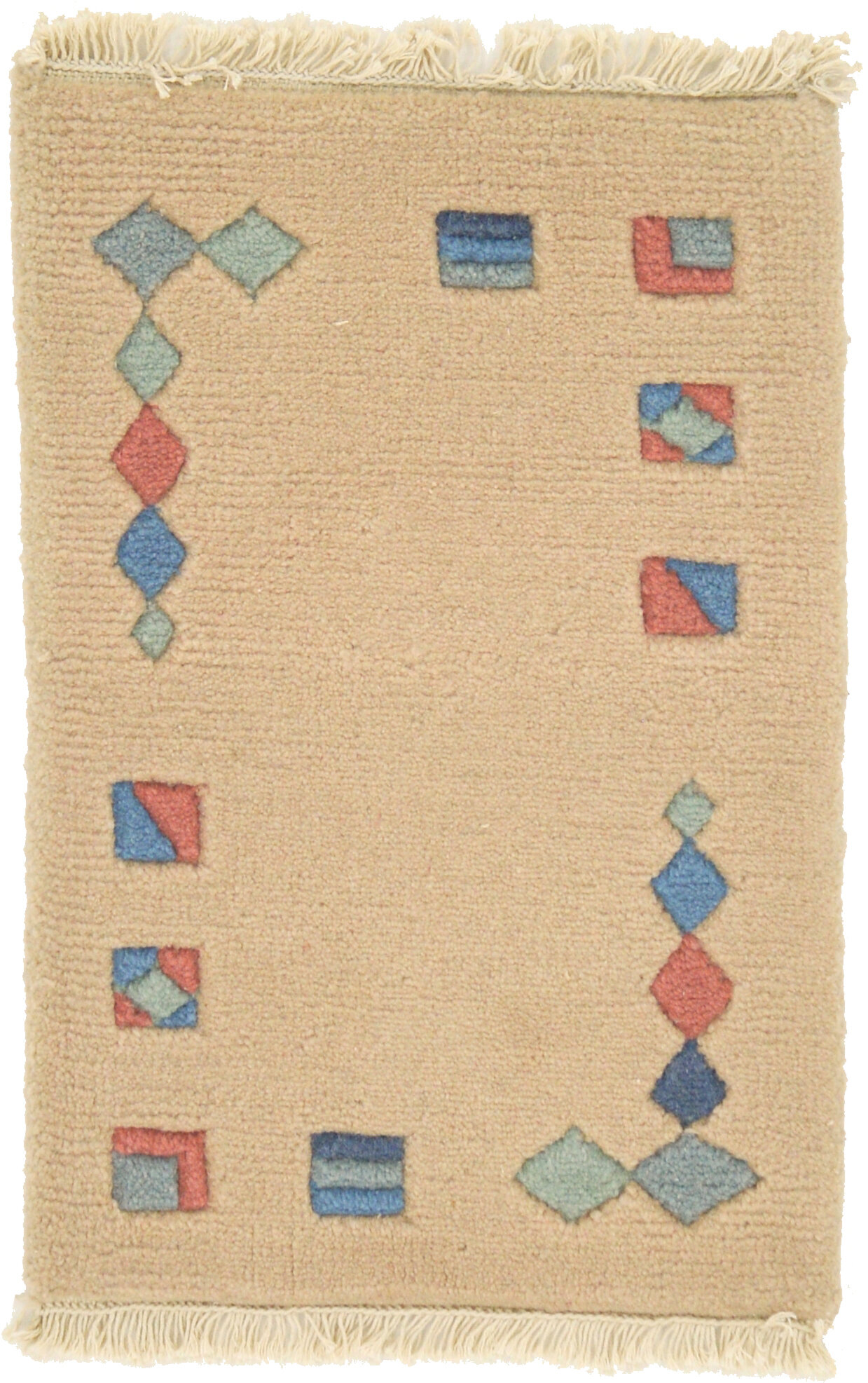 Isabelline One-of-a-Kind Dorcaster Hand-Knotted Wool Beige/Blue Area ...