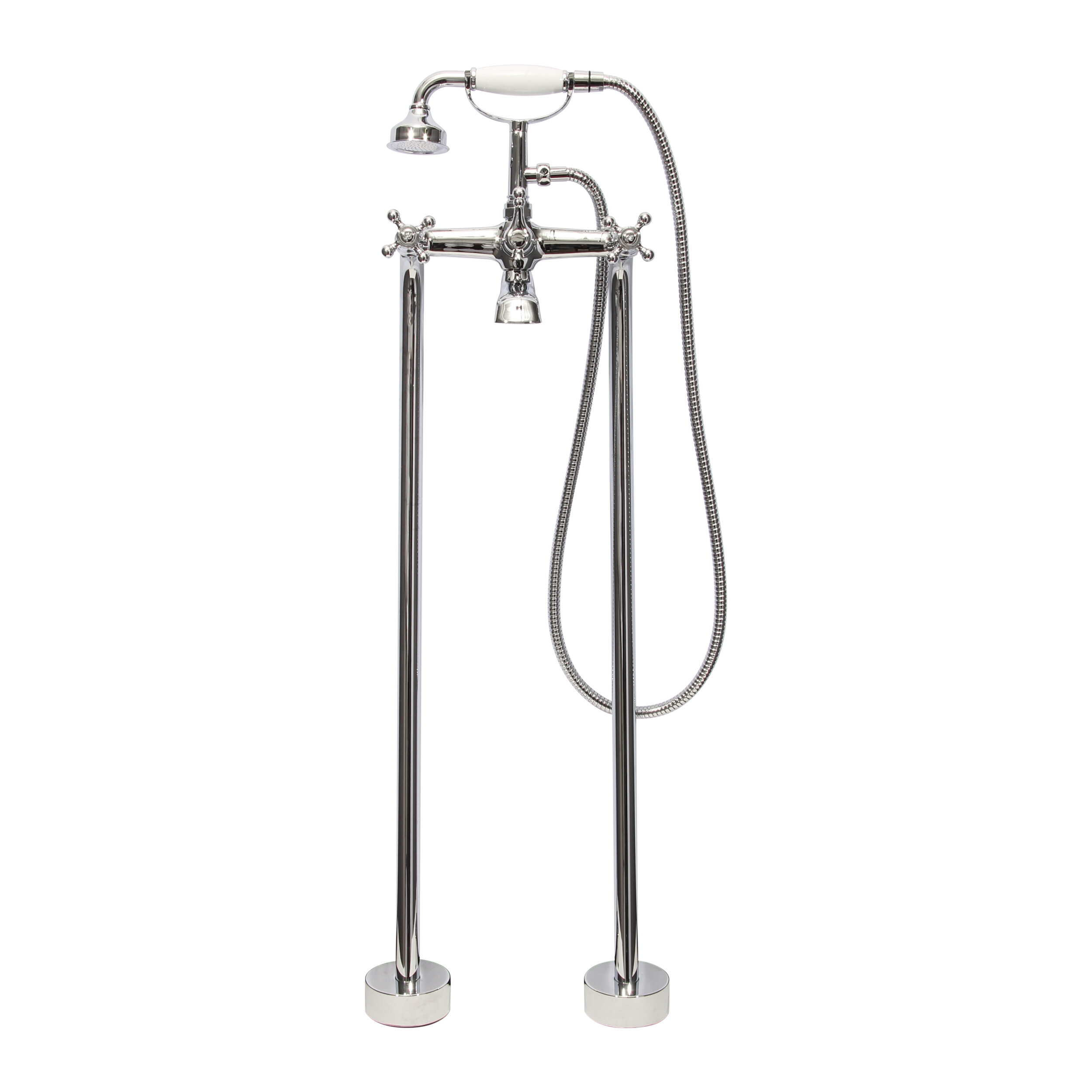 Dyconn Faucet Double Handle Floor Mount Tub Filler Faucet with Hand ...