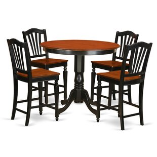 Trenton 5 Piece Counter Height Solid Wood Pub Table Set