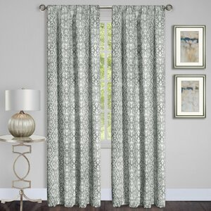 Madison Damask Semi-Sheer Rod Pocket Single Curtain Panel