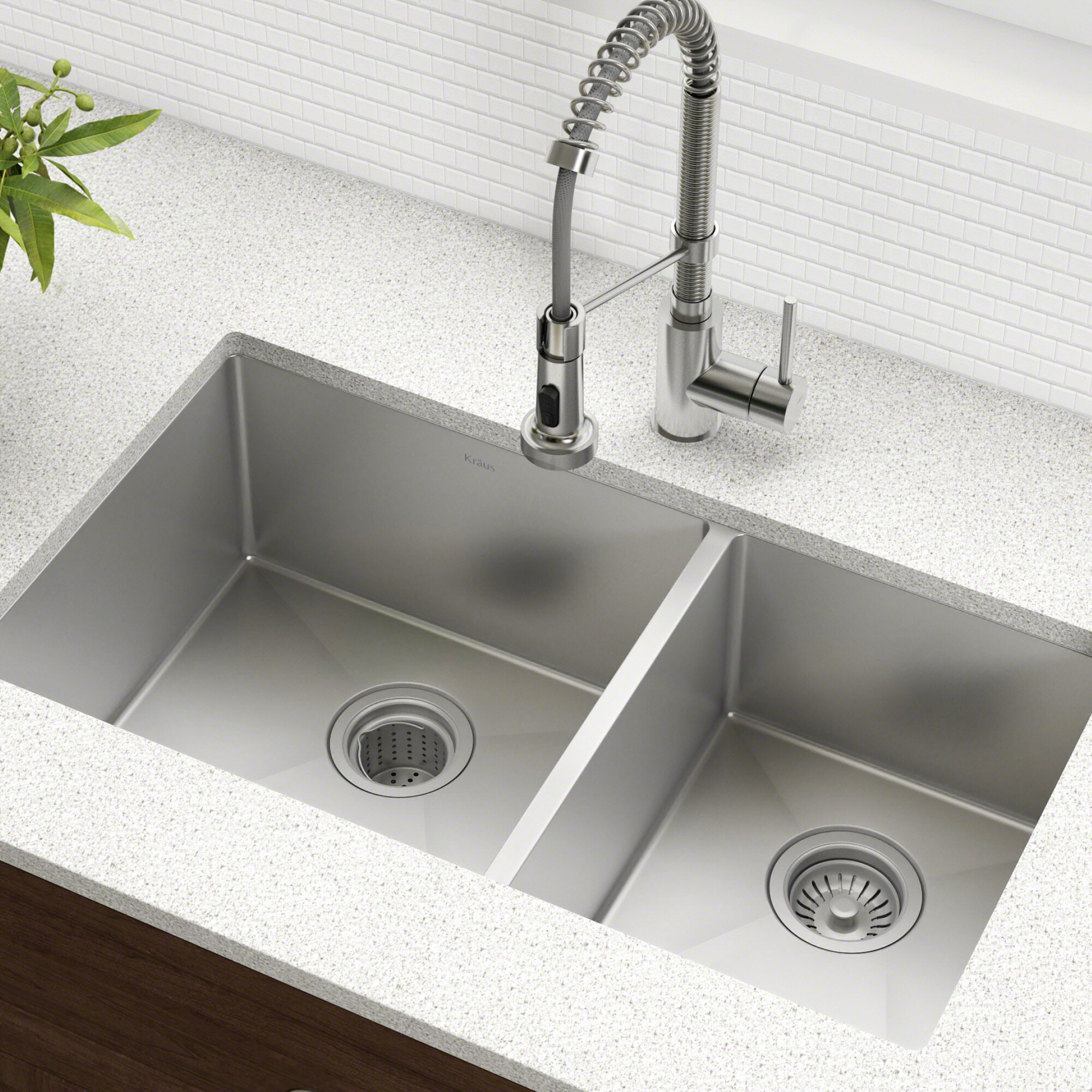 Kraus 33 l x 19 w double basin undermount kitchen sink with drain assembly reviews wayfair