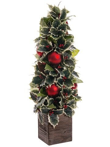 northlight decorative holly pine cone and ornament artificial christmas cone topiary in planter wayfair - Topiary Christmas Decorations