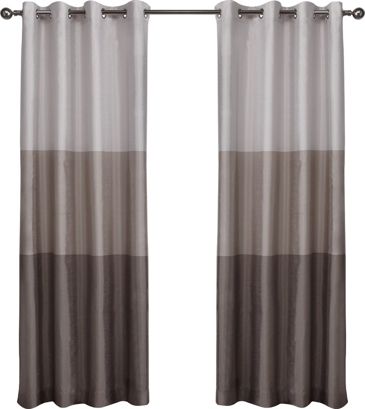 Latitude Run Newton Striped Semi Sheer Grommet Curtain Panels