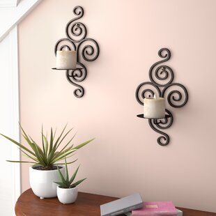 Wrought Iron Sconce (Set of 2) & Wrought Iron Wall Plate Holder | Wayfair
