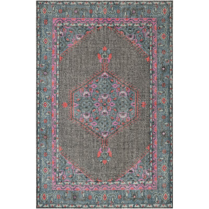Bloomsbury Market Fender Hand-Knotted Charcoal/Blue/Pink Area Rug