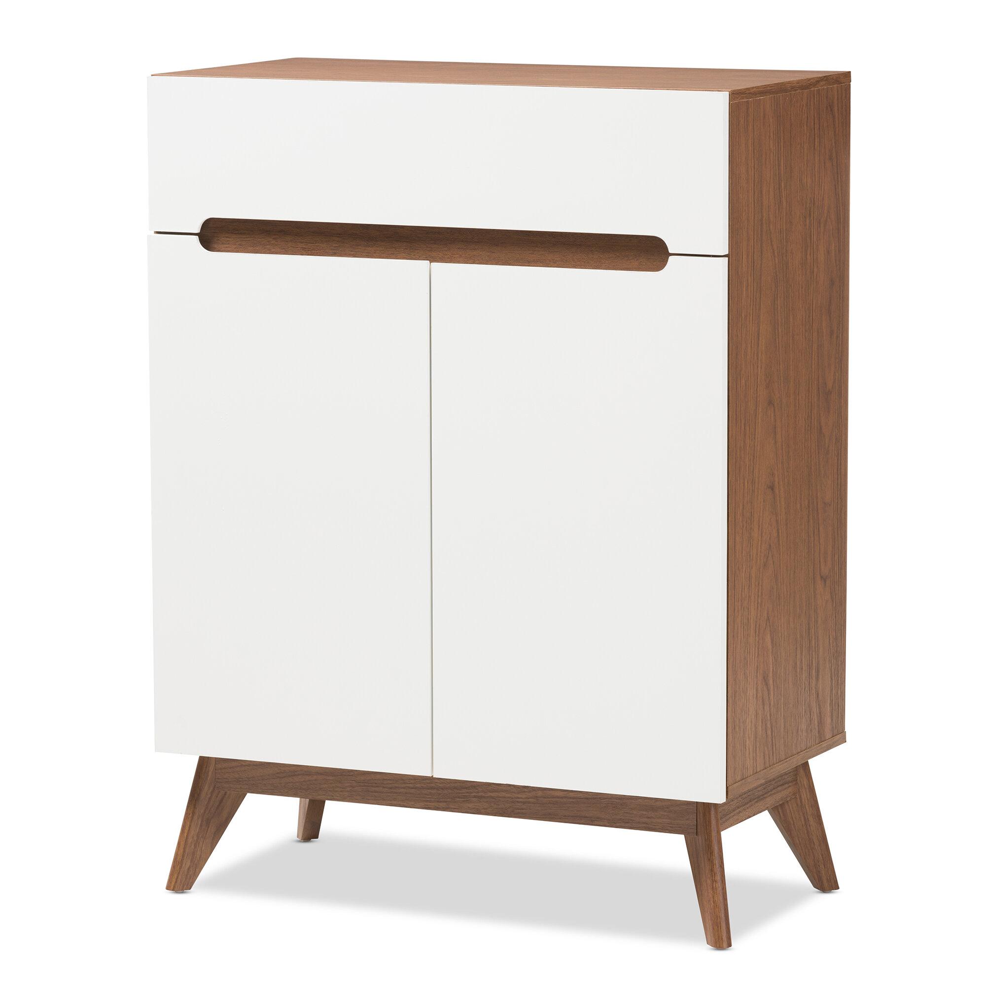 Mid Century Walnut Shoe Storage Cabinet Reviews Joss Main