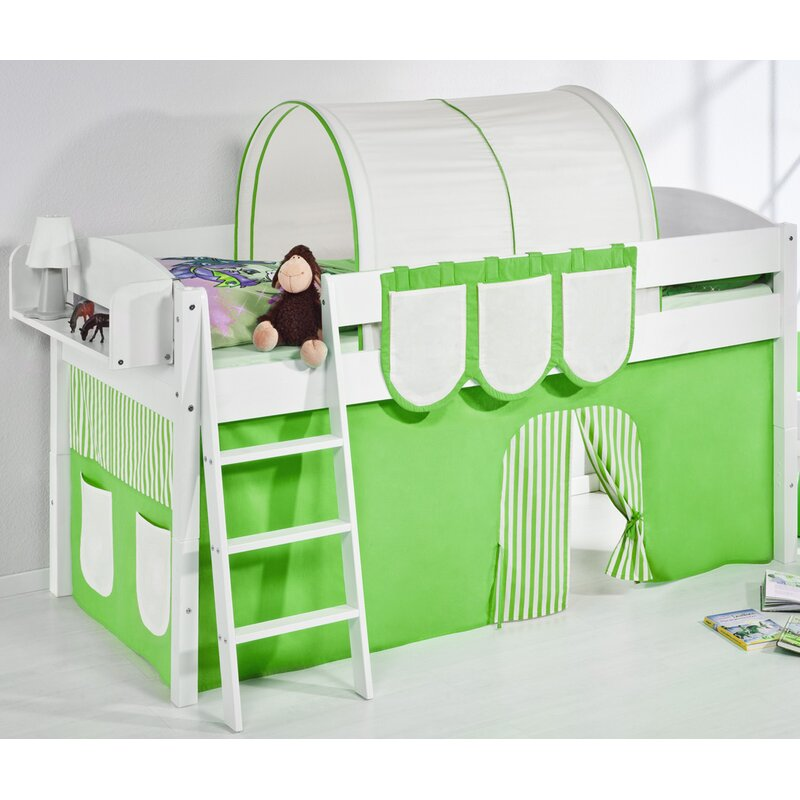 Just Kids European Single Mid Sleeper Bed With Bottom Bunk Curtain