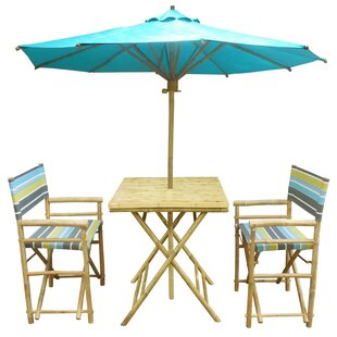 Sinta 3 Piece Teak Bistro Set With Umbrella