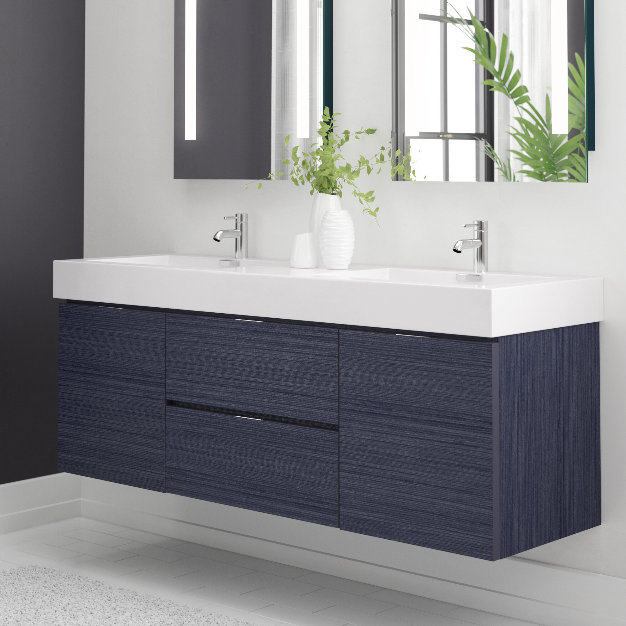 Wade Logan Tenafly 59 Wall Mounted Double Bathroom Vanity Set Reviews Wayfair
