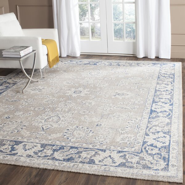Cecily Rug In Taupe & Blue & Reviews