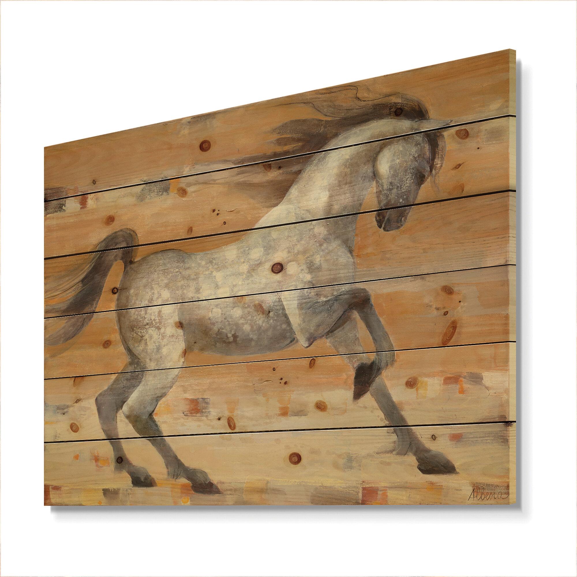 East Urban Home Modern Farmhouse Southwest Horse Print On Wood Wayfair