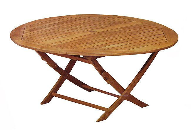 Northlight Acacia Wood Outdoor Patio Furniture Round Folding Table