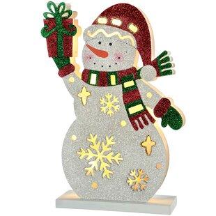 pre lit snowman with present christmas decoration