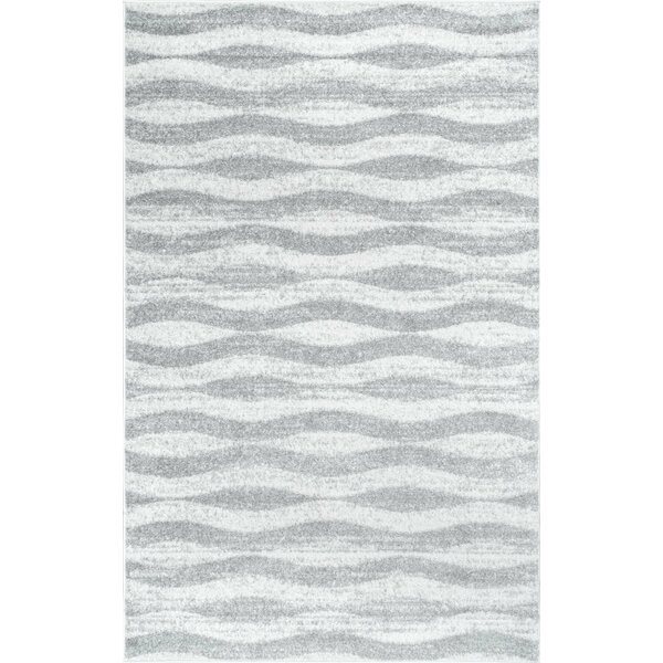 mercury row lada abstract waves graywhite area rug u0026 reviews wayfair