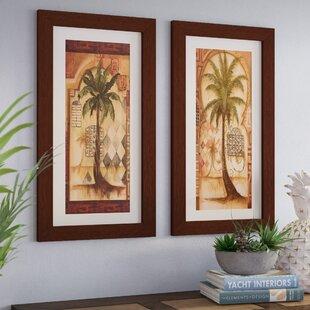 U0027Tuscan Palm Iu0027 2 Piece Framed Graphic Art Print Set