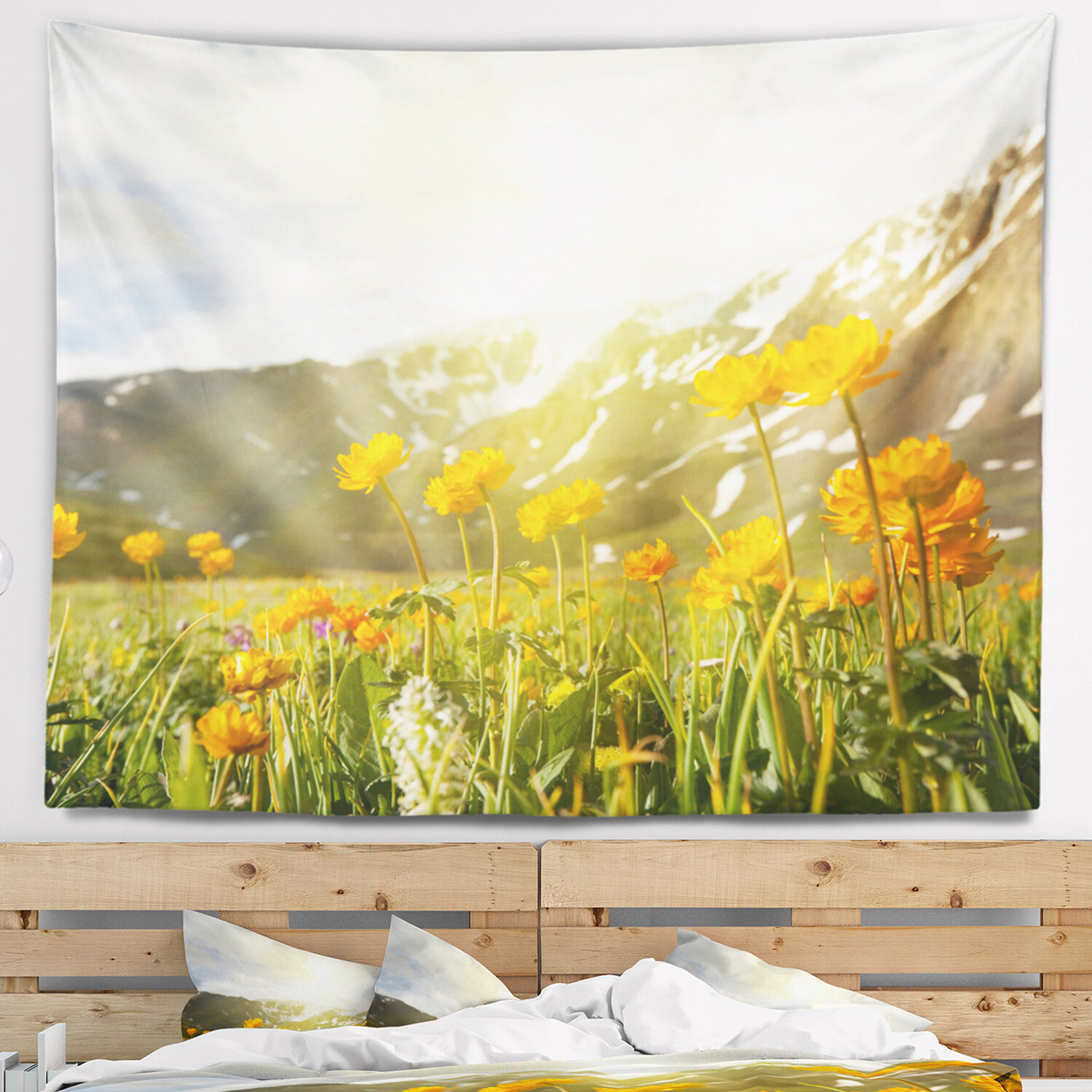 East Urban Home Floral Mountain Pasture With Yellow Flowers Tapestry