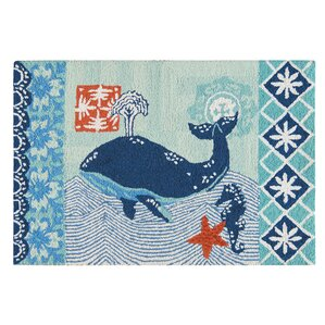 Pinewood Whale Wool Blue Area Rug