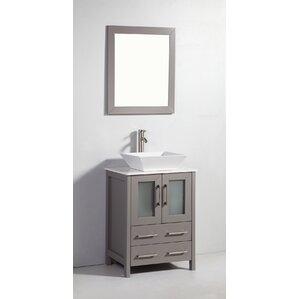 bathroom sink cabinets white. Meeki 24  Single Bathroom Vanity Set with Mirror Vanities You ll Love Wayfair