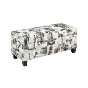 City Printed Storage Ottoman by Brassex