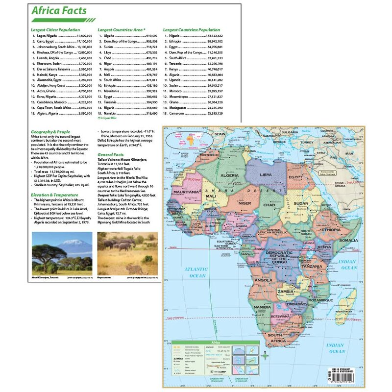 Universal Map Laminated Africa Continent Map 11\