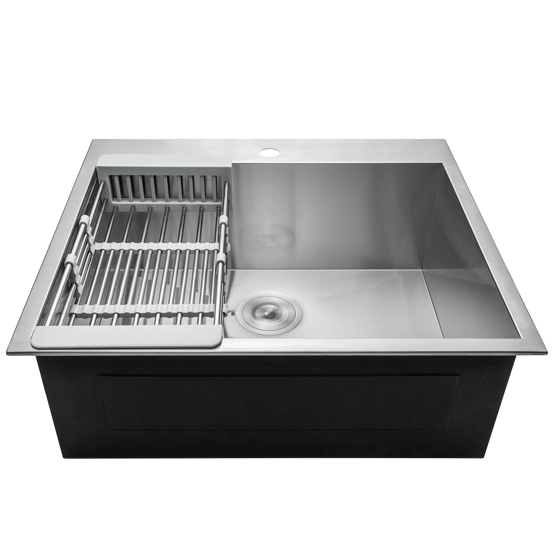 Ks0095 25 x 22 drop in kitchen sink with basket strainer