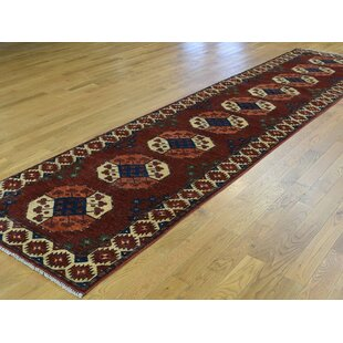 One Of A Kind Flory Ersari Elephant Feet Design Hand Knotted Runner 3 1 X 12 8 Wool Red Beige Area Rug